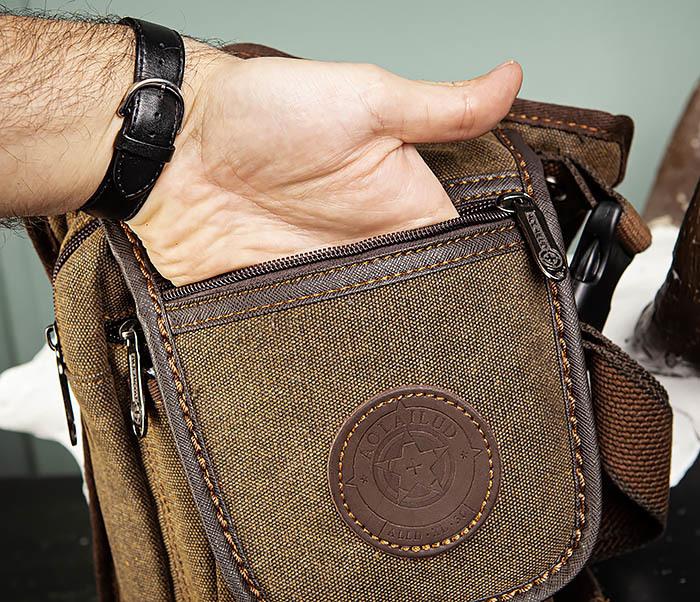 BAG508-2 Небольшая набедренная мужская сумка из ткани фото 06