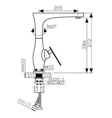Смеситель KAISER Star 02044 хром и 02044-2 черный матовый для кухни схема