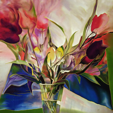 Шелковый платок Букет тюльпанов С-60