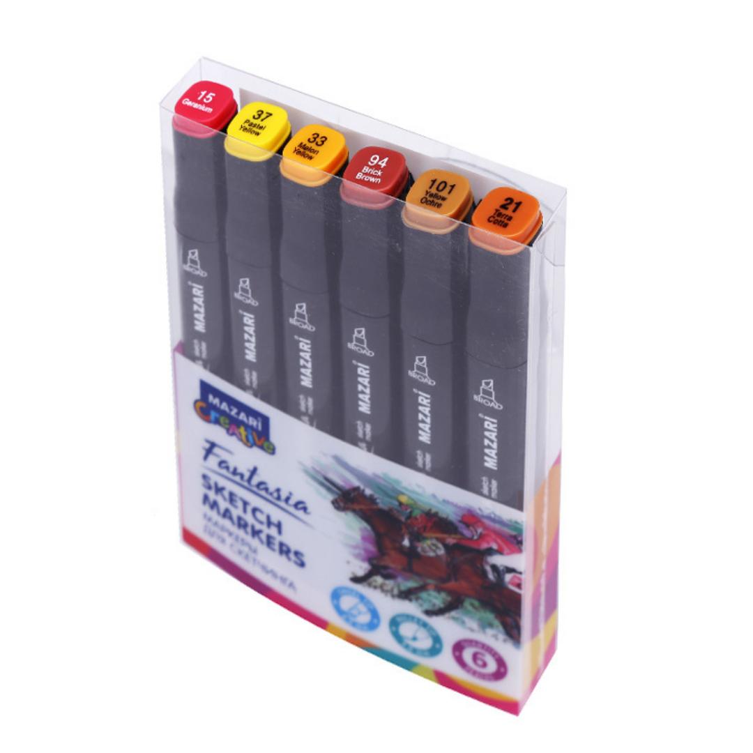 Mazari Fantasia набор маркеров для скетчинга 6 шт двусторонние спиртовые пуля/долото 3.0-6.2 мм (осенние)
