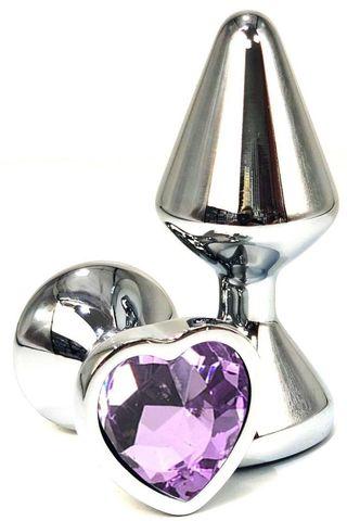 Серебристая анальная пробка с сиреневым кристаллом на удлиненной ножке - 8 см.