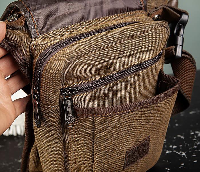 BAG508-2 Небольшая набедренная мужская сумка из ткани фото 07