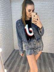 джинсовая куртка с рисунком на спине купить