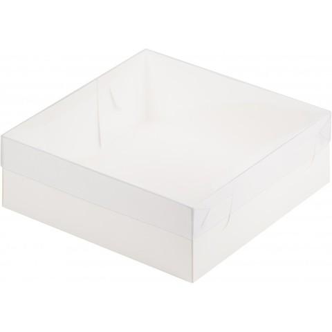 Коробка премиум с пластиковой крышкой, 20*20*7см (белая)