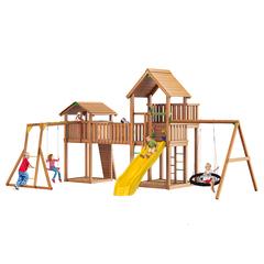 Детская площадка Jungle Palace + Jungle Cottage + жесткий мост + Rock + Рукоход + сидушка + Swing