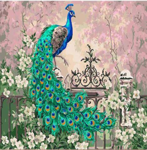 Алмазная Мозаика 40x50 Павлин сидит на заборе (арт. GA72712)