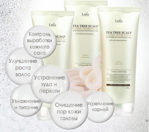 Маска-пилинг для лечения  кожи головы с чайным деревом Lador Tea Tree Scalp Hair Pack