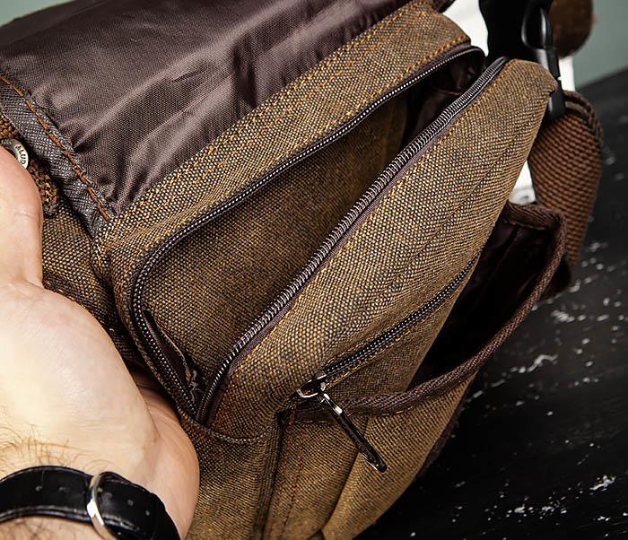 BAG508-2 Небольшая набедренная мужская сумка из ткани фото 08