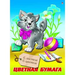 Бумага цветная Альт Мультики (А4, 6 листов, 6 цветов, офсетная)