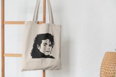 Сумка-шоппер с принтом Майкл Джексон (Michael Jackson) бежевая 002