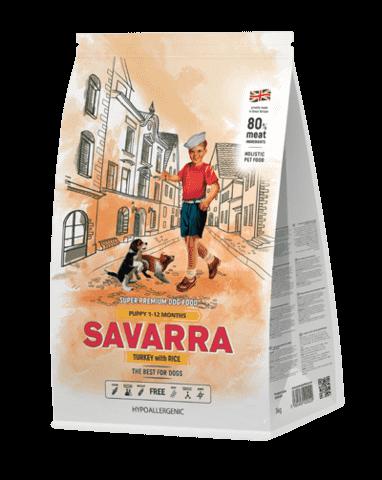 Купить Savarra Puppy Turkey with Rice Сухой корм для щенков всех пород от 1 месяца до 1 года с ягнёнком и рисом