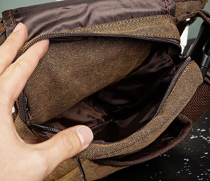 BAG508-2 Небольшая набедренная мужская сумка из ткани фото 09