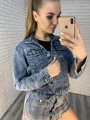 джинсовая куртка с рисунком на спине nadya
