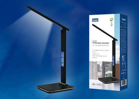 TLD-551 Brown/LED/450Lm/3000-6000K/Dimmer/USB Светильник настольный c часами, календарем, термометром, 9W. Сенсорный выключатель. Коричневый (стилизован под кожу). TM Uniel.