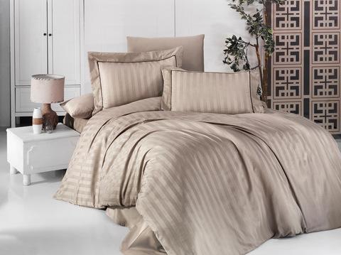 Комплект постельного белья DO&CO Сатин  жаккард  DELUX 1,5 спальное DRAWING цвет молочный
