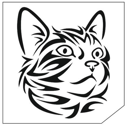 Трафарет для блеск-тату 6*6 кошка 63К