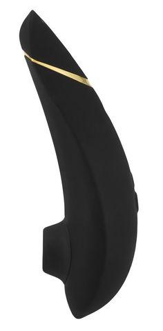 Чёрный бесконтактный клиторальный стимулятор Womanizer Premium