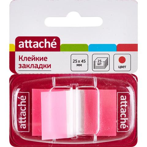 Клейкие закладки Attache пластиковые розовые 25 листов 25х45 мм в диспенсере