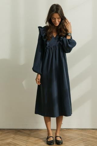 Платье миди с рюшами, темно-синий