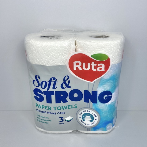 Полотенца бумажные Ruta Soft&Strong 3сл. (2 рул.) белые