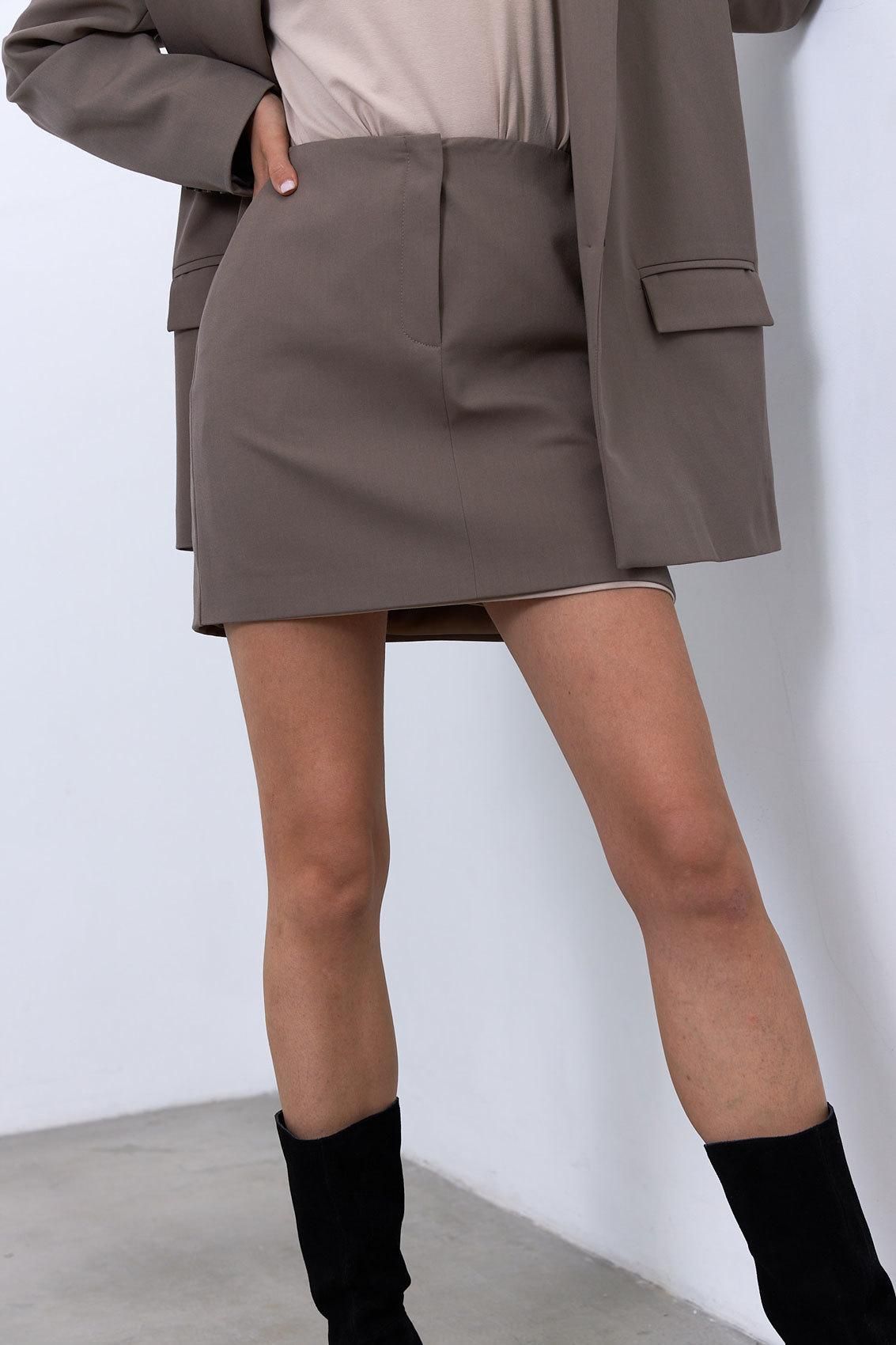 Юбка мини с гульфиком (костюмный твил), кофейный