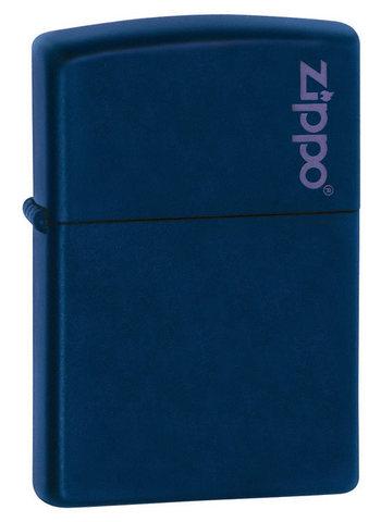 Зажигалка Zippo Navy Matte Logo, латунь/сталь, синяя с фирменным логотипом, матовая, 36x12x56