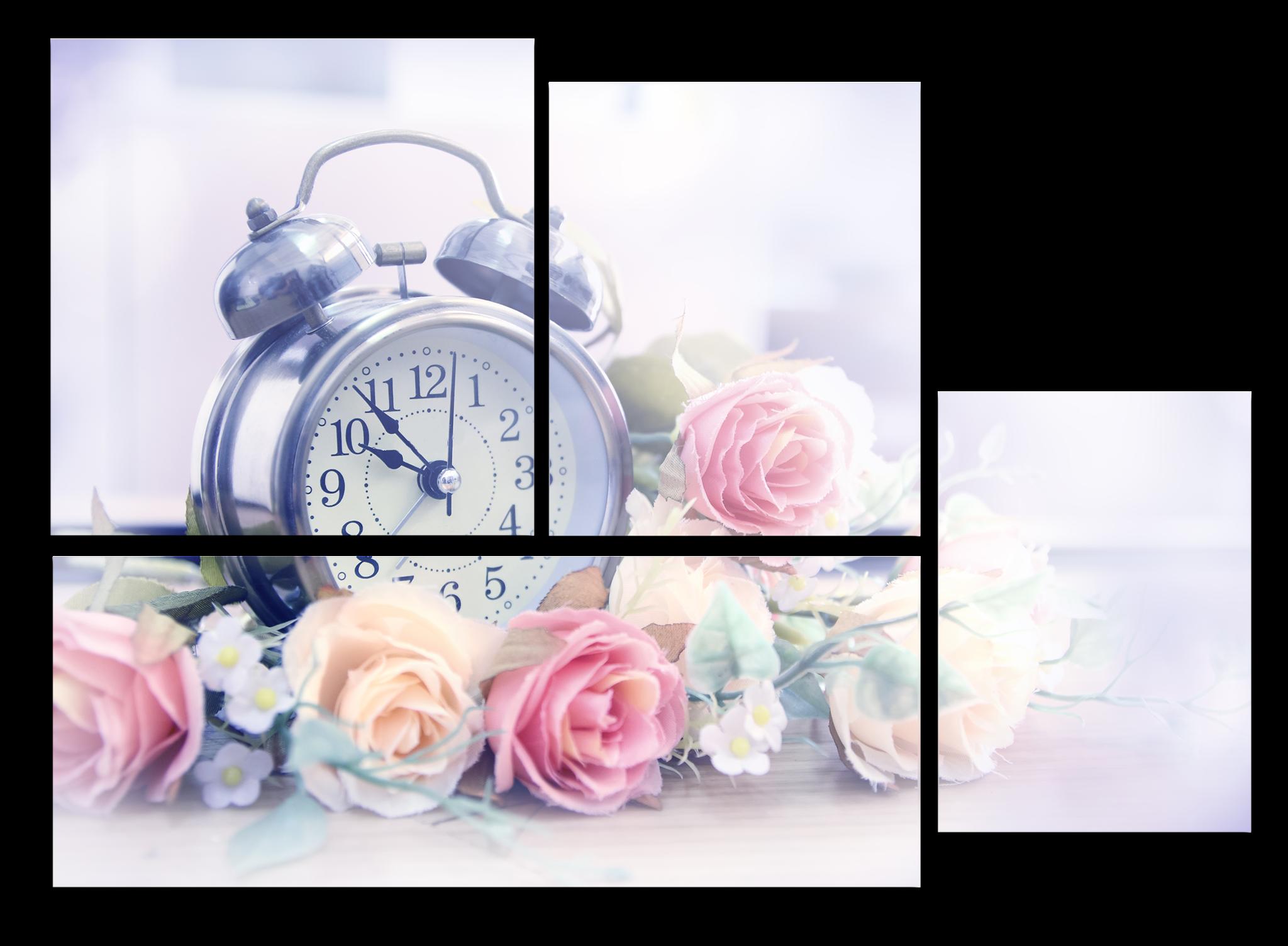 """Модульные картины Модульная картина """"Весенние часы"""" М1016_M_загибы_90х63.png"""