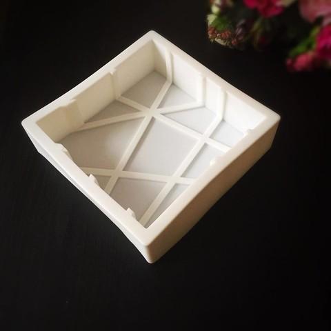 Силиконовая форма для выпечки Плита с косыми линиями 3D GEOMETRIC SQUARE