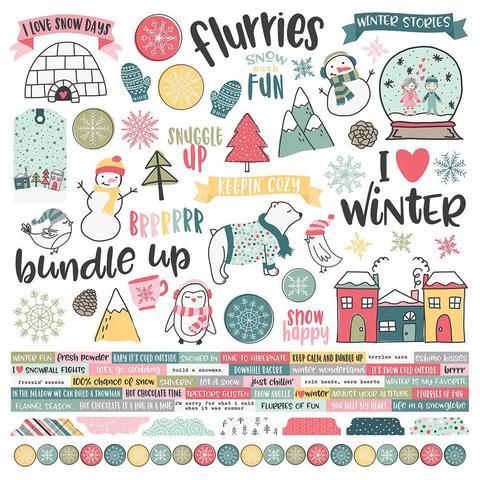 Лист со стикерами 30х30 см - Simple Stories Collection - Freezin' Season