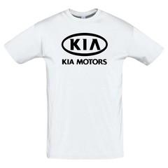 Футболка с принтом КИА (KIA) белая