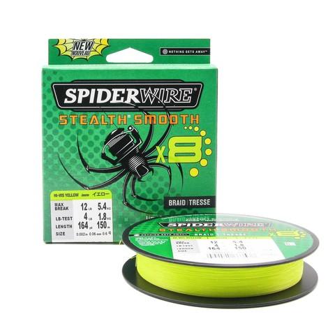 Плетеная леска Spiderwire Stealth Smooth 8 Braid Ярко-желтая 150 м. 0,06 мм. 5,4 кг.