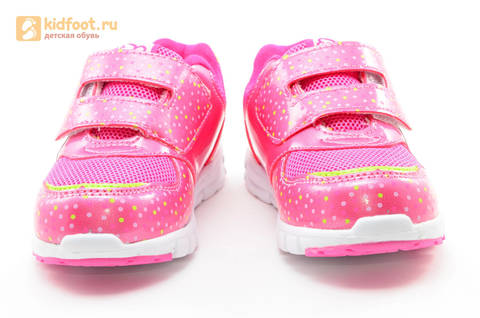 Светящиеся кроссовки для девочек Фиксики на липучках, цвет фуксия, мигает картинка сбоку. Изображение 5 из 15.