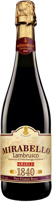 Вино Ламбруско Мирабелло россо игристое жемчужное красное п/сл. 0,75 л 7,5% Италия