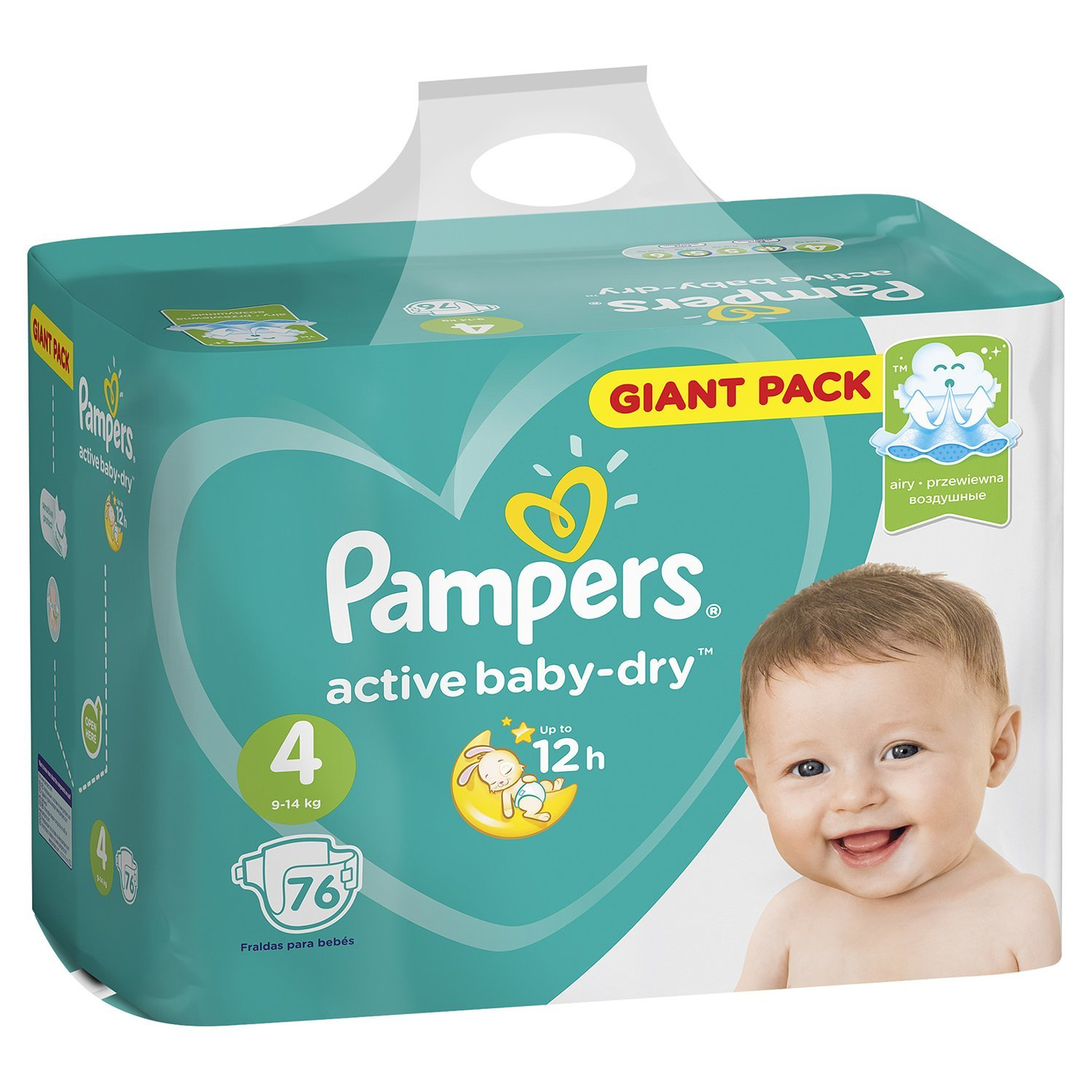 Подгузники Pampers Active Baby-Dry 4 9-14кг 76шт