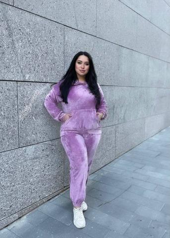 Велюровый костюм  Линда Plus Size лаванда
