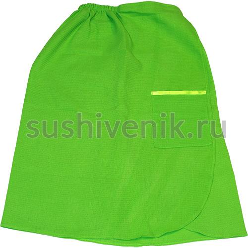 Парео для бани женское вафельное (зеленое)