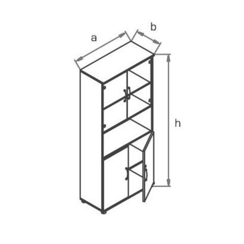 Шкаф со стеклянными дверцами R5S12 МОНО-ЛЮКС
