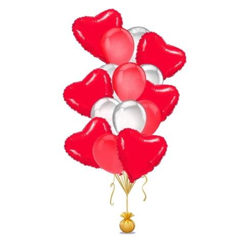 Букет белых и красных шаров с красными сердцами