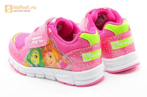 Светящиеся кроссовки для девочек Фиксики на липучках, цвет фуксия, мигает картинка сбоку. Изображение 7 из 15.