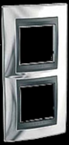 Рамка на 2 поста, вертикальная. Цвет Хром глянцевый-графит. Schneider electric Unica Top. MGU66.004V.210