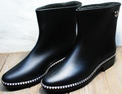 Стильные резиновые сапоги ботинки женские Hello Rain Story 1019 Black.