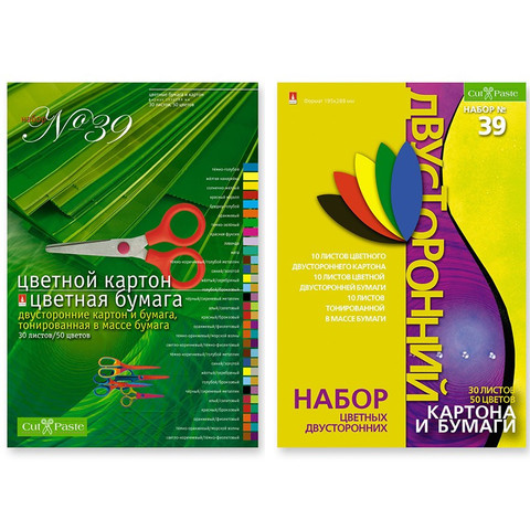 Набор цветной бумаги и картона Альт (А4, 30 листов, 50 цветов, офсетная)