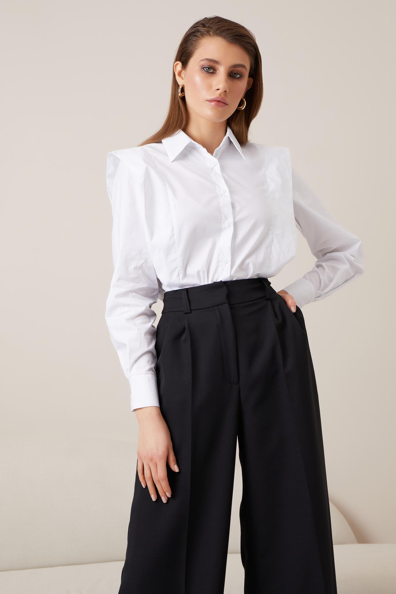 Рубашка из хлопка с декоративной вставкой (белый)