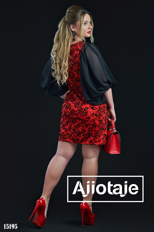 Красное платье с рукавами-фонариками