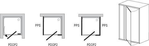 Душевая дверь Ravak Pivot PDOP2-120 сатин + транспарент 03GG0U00Z1 схема