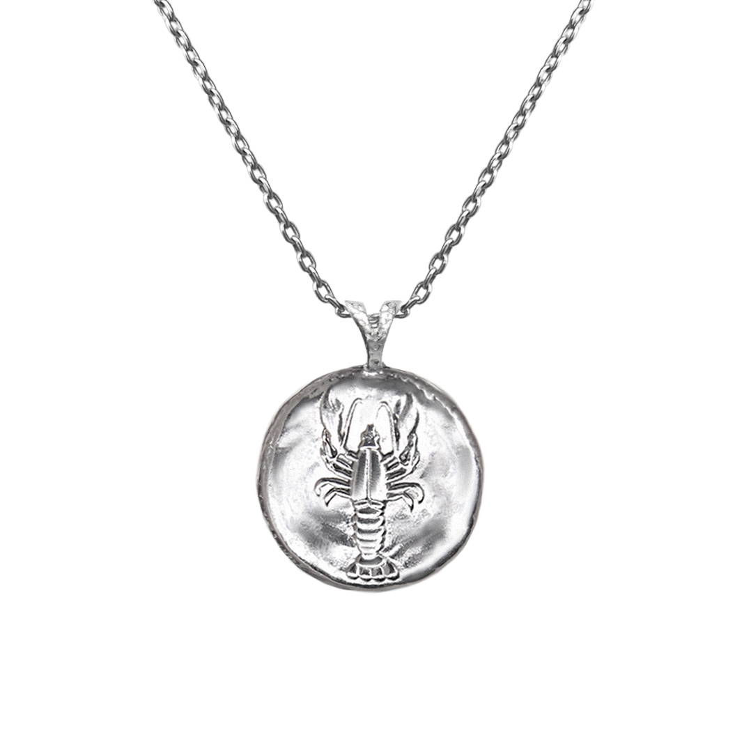 Pendant, Zodiac sign Cancer  on a chain, sterling  silver