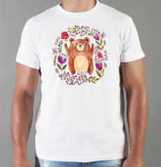 Футболка с принтом Медведь, Медвежонок (Bear) белая 0016