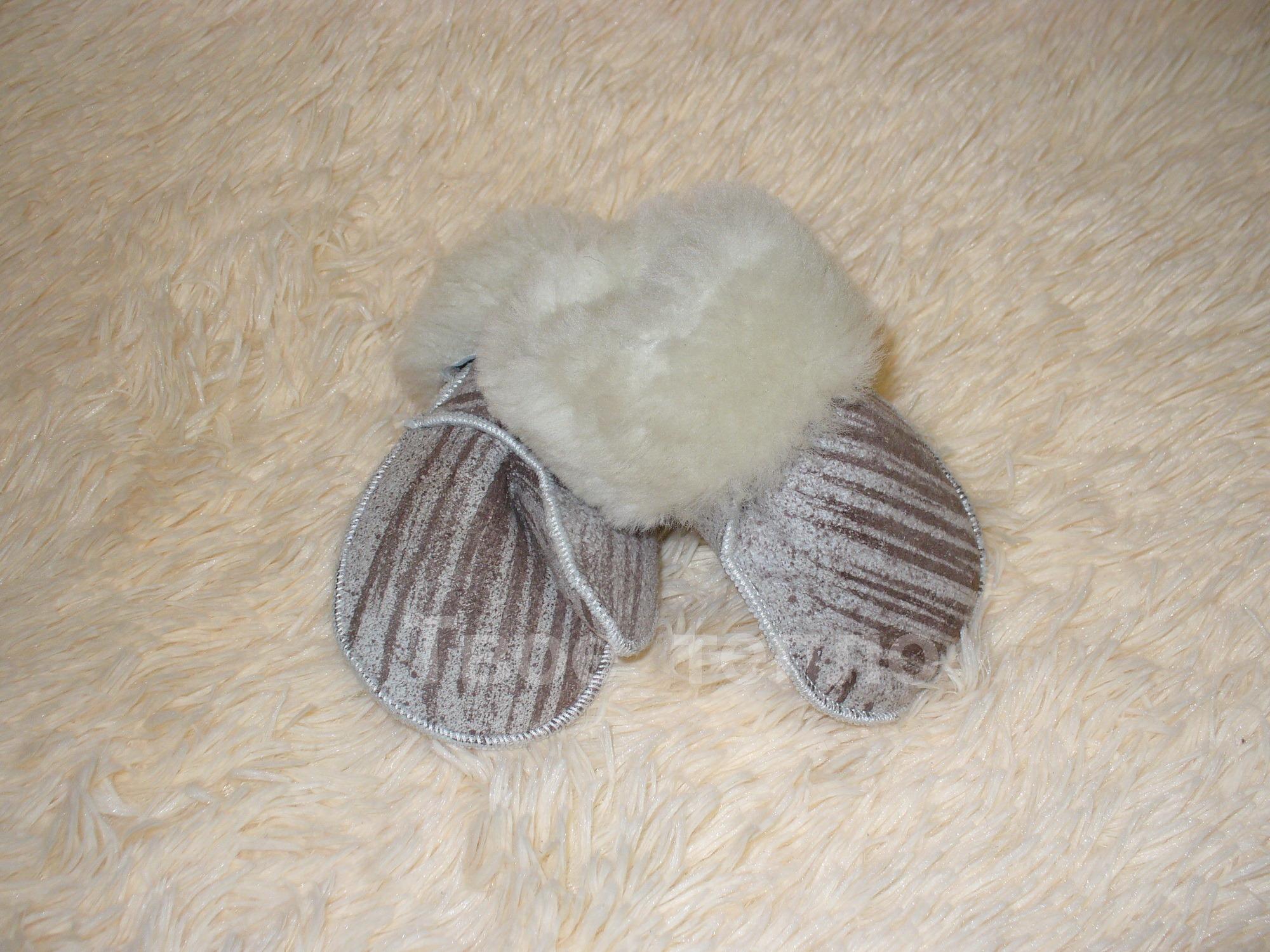 Варежки из овчины Полоска