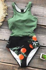 Купальник слитный оливковый зеленый черный с мандаринами закрытый 2