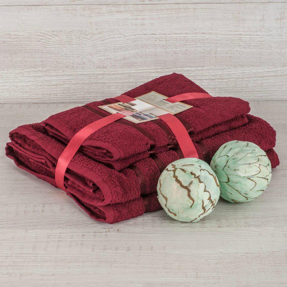 Комплект махровых полотенец 2 шт., бордовый